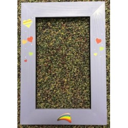 Rainbow Hearts Brown House Frame