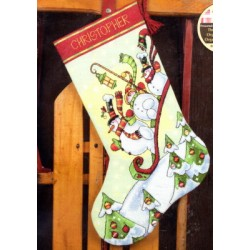 Sledding Snowmen Stocking