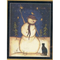 Snowman with Black Cat Mystic Stitch