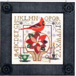 BIRDIE AND BASKET SAMPLER POINSETTIA Tellin Emblem