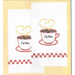 COFFEE TIME HAND TOWELS 320-127 Jack Dempsey Needle Art
