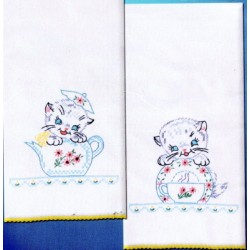 KITTENS KITCHEN TOWELS t264102 Stamped Embroidery