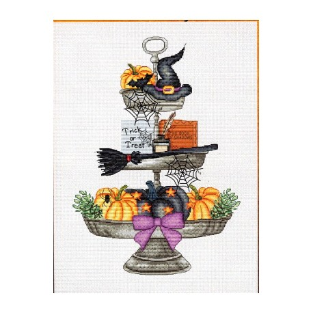HALLOWEEN TRAY Grille point de croix