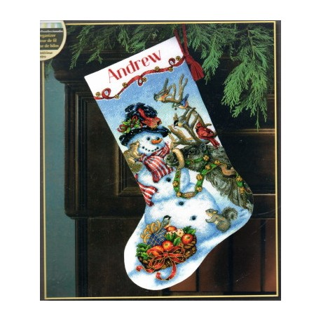 SNOWMAN GATHERING STOCKING Dimensions