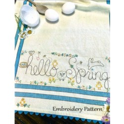 HELLO SPRING DISHTOWEL pattern only Bareroots
