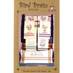 THE HEN DELIVERS TEA TOWELS pattern only Bird Brain Designs