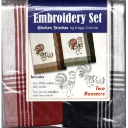 TWO ROOSTERS EMBROIDERY SET 200 110 Indygo Junction