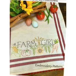 Farm Girl embroidery pattern only Bareroots