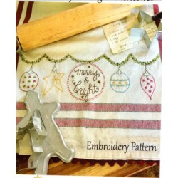 Merry and Bright embroidery pattern only Bareroots